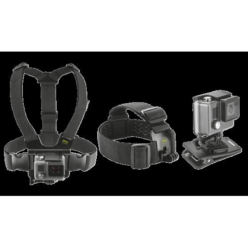 Набор «3 в 1» для экшн-камер для экстремальной съемки (нагрудное крепление, оголовье, зажим-клипса)