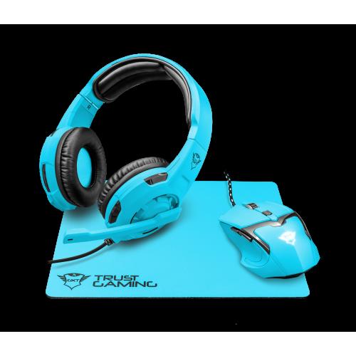 Игровой набор 22467 Trust GXT790-SB SPECTRA мышь+коврик+гарнитура 4800 dpi голубой неон