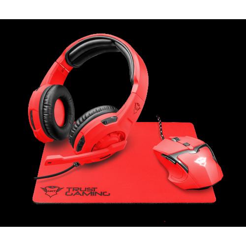 Игровой набор 22471 Trust GXT790-SB SPECTRA мышь+коврик+гарнитура 4800 dpi красный неон